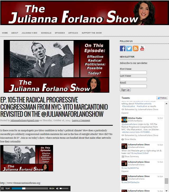 Gerald Meyer and Roberto Ragone on the Julianna Forlano Show Oct 15th 2014